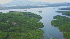 Upper Flight over Blue Wonderful Tranquil Highland Lake stock footage