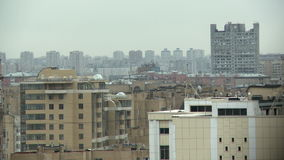 Upper floors of high-rise buildings in city stock video