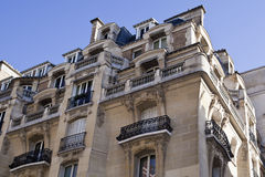 The upper floors of a residential building in Paris Stock Image