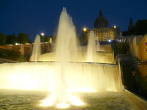 Upper fountains montjuic barcelona spain Stock Photos