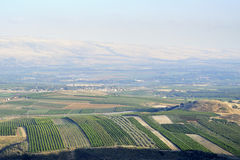 Upper Galilee landscape, Israel. Golan Heights and Metula fields view in Upper Galilee, Israel Stock Photos