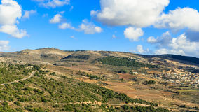 Upper Galilee mountains landscape, sunny day view. Upper Galilee mountains landscape, Golan Heights nature view from Nimrod, beautiful sunny day, blue sky with Stock Photos
