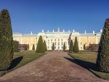 Upper garden facade of Peterhof Grand Palace. Peterhof, Russia royalty free stock photos