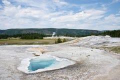 Upper geyser basin Old faithful area stock photo