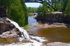 Upper gooseberry falls. The gooseberry river flows over upper gooseberry falls, where it eventually enters into lake superior, on its north shore, minnesota Stock Image