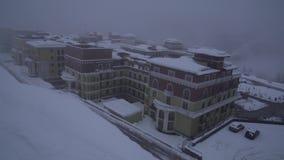 Upper Gorky Gorod - all-season resort town 960 meters above sea level stock footage video. Sochi, Russia - January 22, 2017: Upper Gorky Gorod - all-season stock video footage