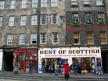 Scottish Souvenir and Whiskey Shops on the Royal Mile in Edinburgh, Scotland Stock Images