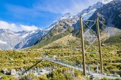 Upper Hooker Bridge in Mount Cook National Park,New Zealand. Stock Images