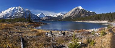 Upper Kanananskis Lake Rocky Mountains Canada. Panoramic Autumn Landscape Scenic View of Snowy Mountain Tops from great hiking trail around upper Kananaskis Lake stock photos