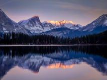 Upper Kananaskis Lake. Sunrise at Upper Kananaskis Lake in the Canadian Rockies. Kananaskis Country is located in Alberta stock photo