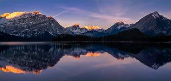 Upper Kananaskis Lake. Sunrise at Upper Kananaskis Lake in the Canadian Rockies. Kananaskis Country is located in Alberta royalty free stock images