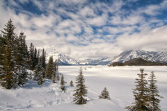 Upper Kananaskis Lake in Winter. Canadian Rocky Mountains in Winter.  Snow covered Upper Kananaskis Lake Royalty Free Stock Images