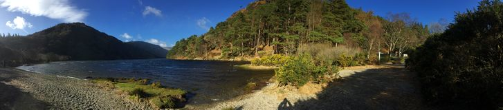 Upper Lake, Glendalough, Ireland panorama looks very nice. Upper Lake, Glendalough, Ireland very nice panorama in ireland royalty free stock image