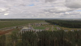 Upper Landscape Forest View with Factory and Cottages stock footage