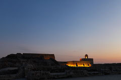 Upper level of Bahrain Fort during blue hours Stock Image