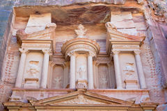Upper level of facade The Treasury in Petra Stock Photos