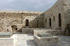 The upper level of the medieval Venetian fortress Koules. The upper level of the medieval Venetian fortress Koules in Heraklion, Crete, Greece Royalty Free Stock Image