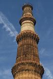 Upper levels of Qutub Minar in Qutb complex in Mehrauli. Royalty Free Stock Images