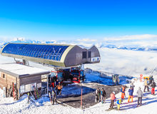 Upper lift station on top of the mountain Hohe Salve. Soll, Tyrol, Austria. Upper lift station on top of the mountain Hohe Salve. Ski resort Soll, Tyrol, Austria Stock Photos