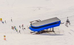 Upper lift station.  View from  the top of the mountain Hohe Salve. Ski resort  Soll, Westendorf. Tyrol, Austria Royalty Free Stock Photos