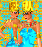 Upper and Lower Egypt symbolized with our fantasy digital art, Egyptian twins. Stock Photo