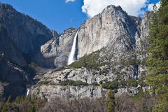 Upper and Lower falls Yosemite National Park. Stunning view of Upper and Lower Waterfalls in Yosemite CA Stock Photography