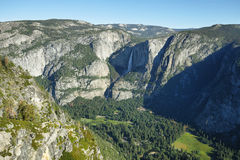 Upper and lower falls in Yosemite national Park Stock Photos