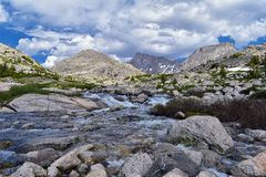 Upper and Lower Jean Lake in the Titcomb Basin along the Wind River Range, Rocky Mountains, Wyoming, views from backpacking hiking. Trail to Titcomb Basin from stock photography