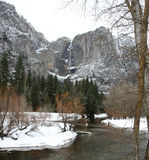 Upper and lower yosemite falls in winter Stock Photography