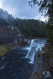 Upper Messa Falls on a Cloudy Day. Upper Messa Falls in Idaho, USA on a cloudy afternoon Stock Image