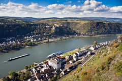 Upper Middle Rhine Valley, World Heritage Site. St. Goar and St. Goarshausen near Loreley, Upper Middle Rhine Valley, Germany, World Heritage Site Stock Photography
