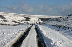 Upper Nidderdale. In the Yorkshire Dales, England, in the snow, with a road barely passable by 4 wheel drive vehicles Stock Photos
