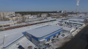 Upper Panoramic View on Factory Snowbound Territory stock video