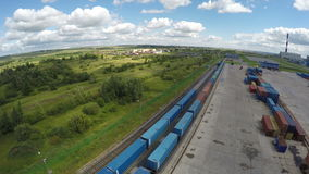 Upper Panoramic View Train and  Tower Crane on Platform stock footage