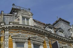 Upper part of ancient building in Ruse town Royalty Free Stock Image