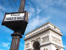Arc de Triomphe and street sign Place Charles de Gaulle. Upper part of the Arc de Triomphe de l`Etoile and a street sign indiquating the Place Charles de Gaulle Royalty Free Stock Photography