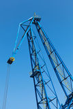 Upper part of big industrial port crane Royalty Free Stock Photo