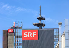 Upper part of the building of the Swiss Radio and Television company in Zurich Stock Photos