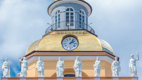 Upper part with clock of the tower of the Admiralty building timelapse in St. Petersburg, Russia. stock video footage