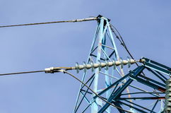 Upper part of electric power transmission line, Sofia, Bulgaria Royalty Free Stock Photography