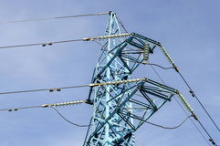 Upper part of electric power transmission line, Sofia, Bulgaria Royalty Free Stock Image