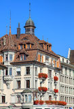 Upper part of a historic building in Lucerne, Switzerland Royalty Free Stock Image