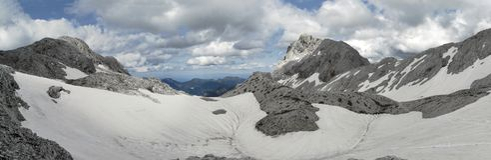 Upper part of Krma valley below Dom Valentina Stanica near Triglav in Julian Alps Royalty Free Stock Photography