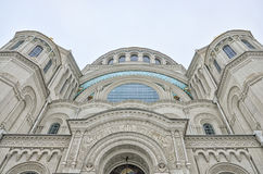 The upper part of the Naval cathedral of Saint Nicholas in Kronstadt. Royalty Free Stock Images
