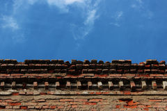 Upper part of the old brick building against the sky. Royalty Free Stock Photography