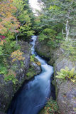 The upper part of Ryuzu Falls,Nikko,Tochigi Prefecture,Japan.With early fall colors. Stock Photo