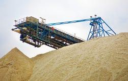 Upper part of stockpile 2 of the potash mine near Zielitz, Saxony-Anhalt, East Germany. Zoomed in royalty free stock photo