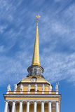 Upper part of the tower of the Admiralty building in St. Petersb Stock Images