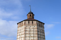 Upper part of tower in ancient russian monastery Royalty Free Stock Photography