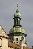 The upper part of the tower of the church in the abbey  Bernardi. Ne (Lviv, Ukraine Stock Photos
